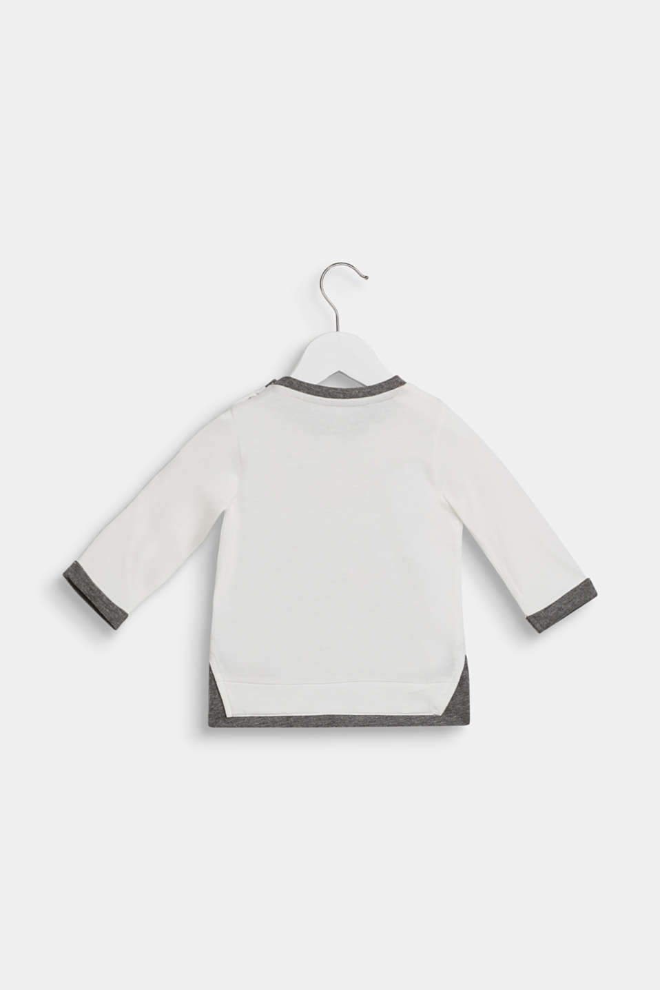 Layered-effect printed long sleeve top, LCOFF WHITE, detail image number 1