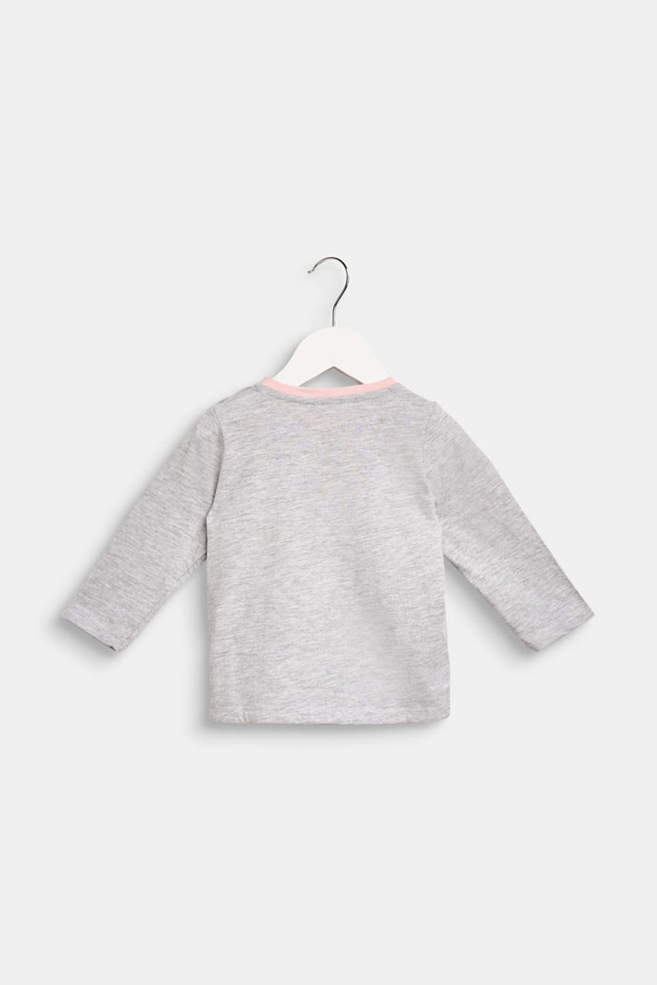 Long sleeve top with a penguin print, LCHEATHER SILVER, detail image number 1