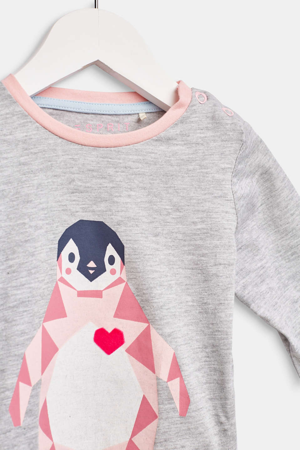 Long sleeve top with a penguin print, LCHEATHER SILVER, detail image number 2