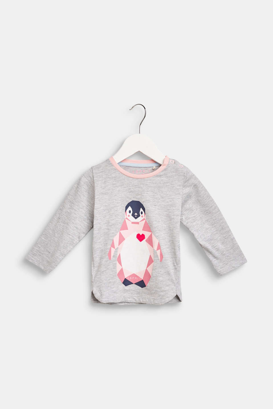 Long sleeve top with a penguin print, LCHEATHER SILVER, detail image number 0