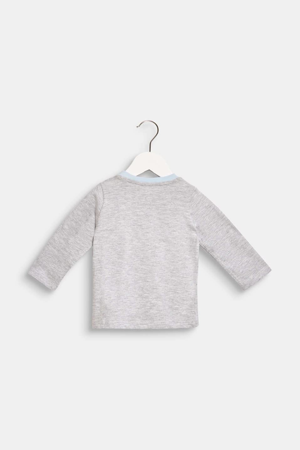 Long sleeve top with a polar bear print, 100% cotton, LCHEATHER SILVER, detail image number 1