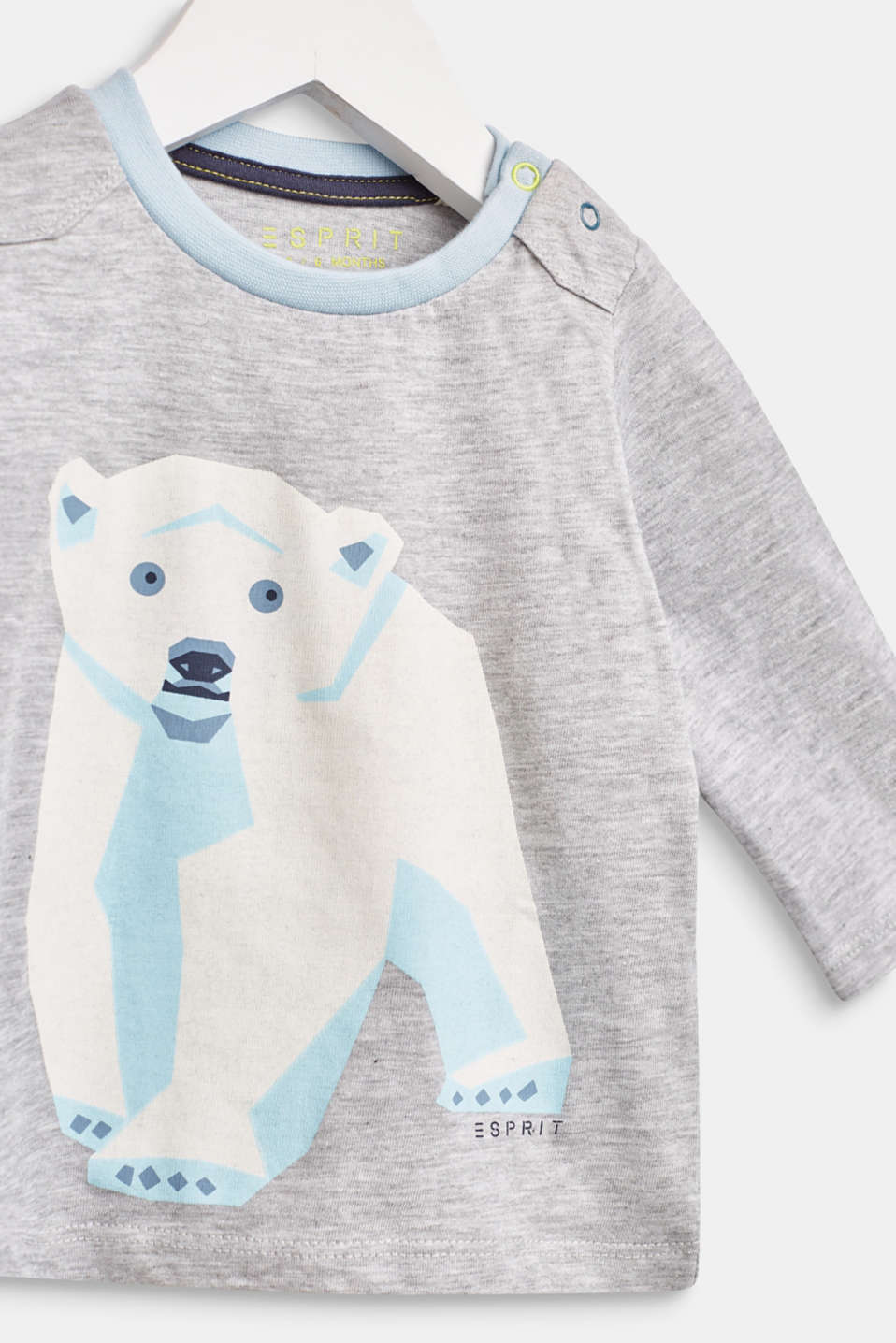Long sleeve top with a polar bear print, 100% cotton, LCHEATHER SILVER, detail image number 2