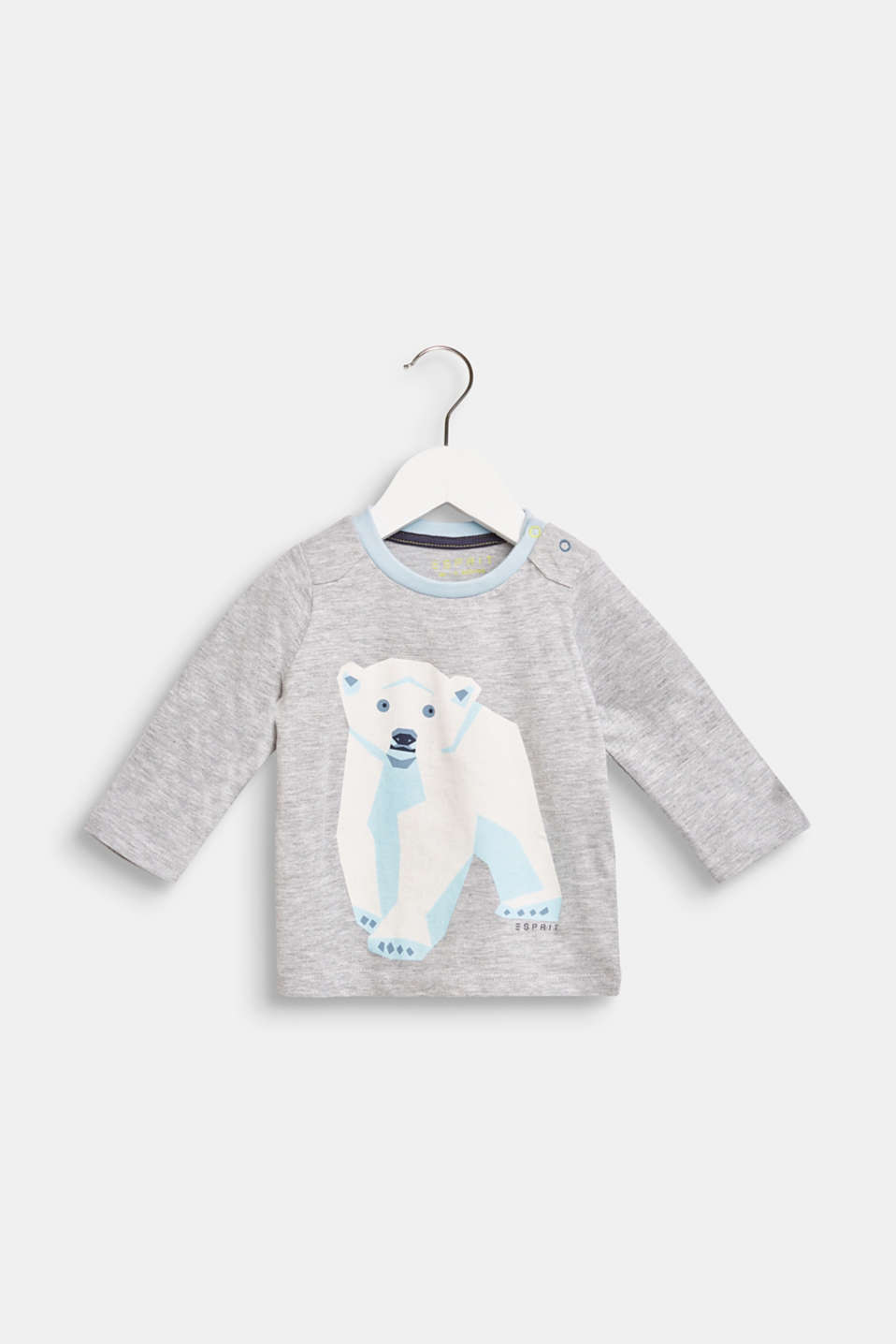 Esprit - Long sleeve top with a polar bear print, 100% cotton