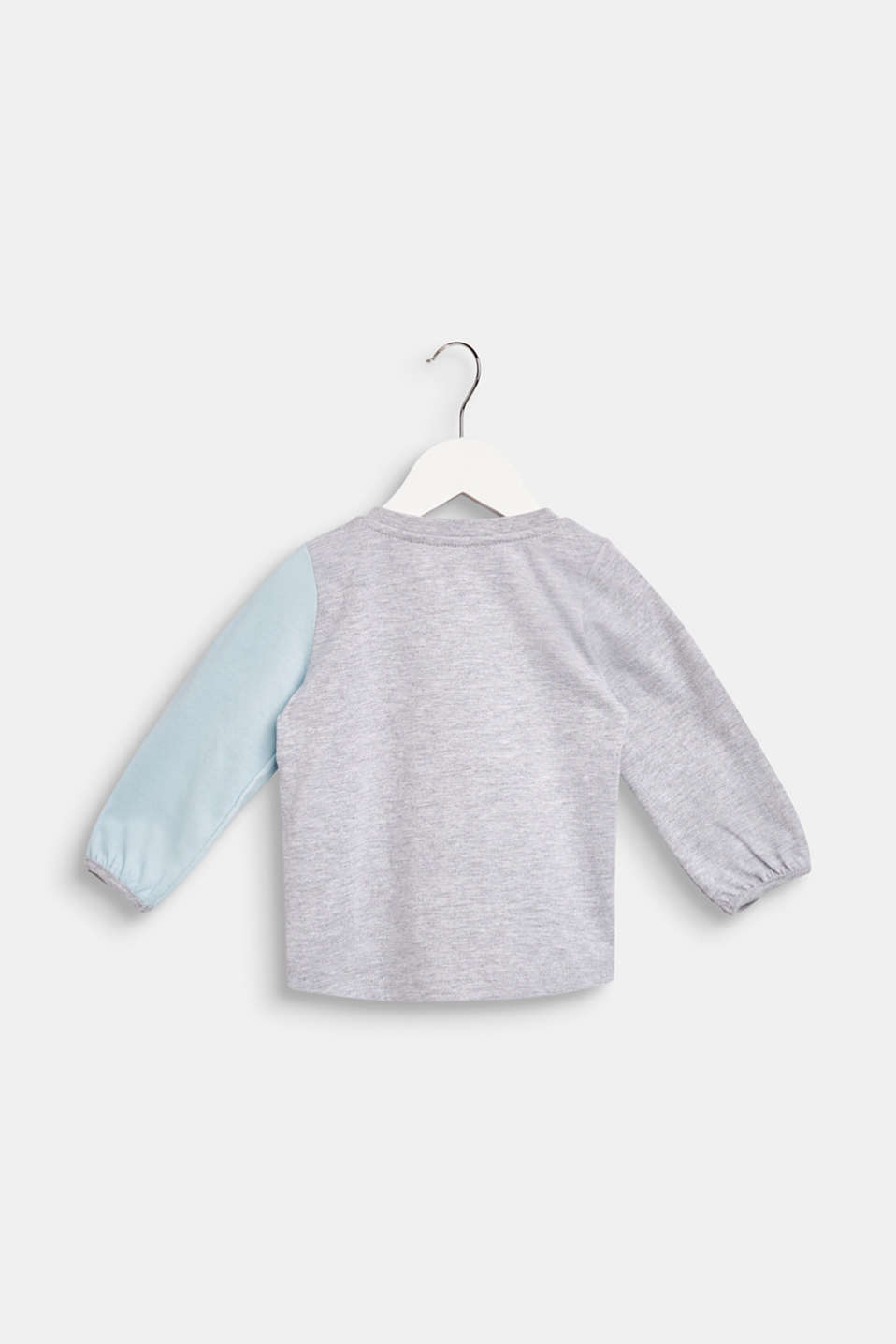 Long sleeve top with a fluffy penguin print, LCHEATHER SILVER, detail image number 1