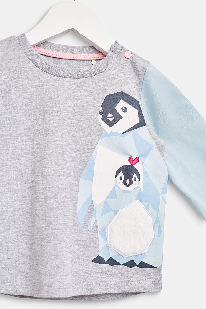 Pörröisellä pingviiniprintillä kuvioitu pitkähihainen, LCHEATHER SILVER, detail image number 2