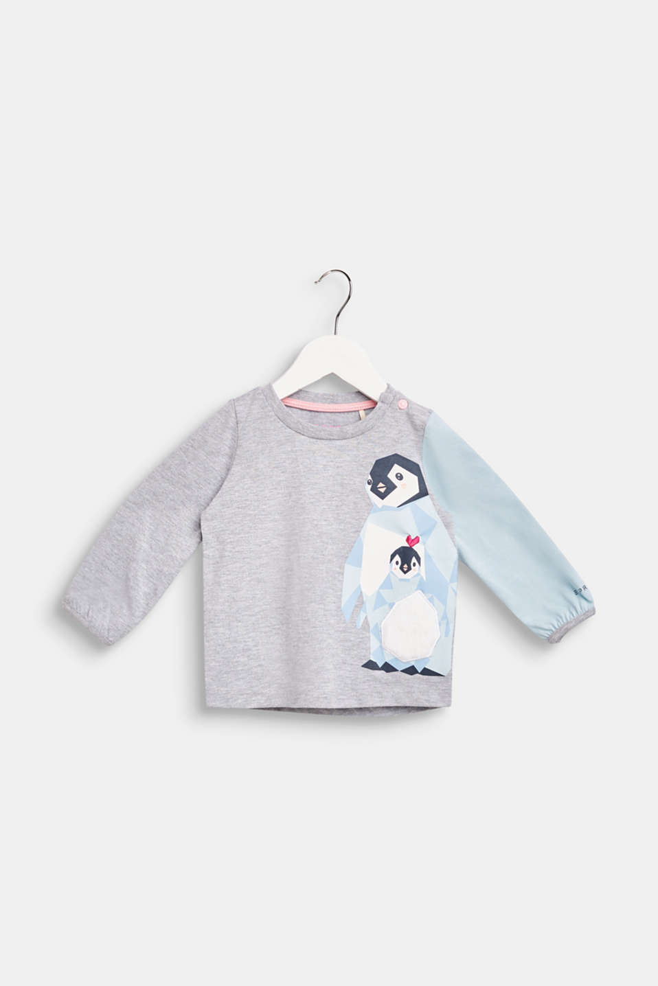 Long sleeve top with a fluffy penguin print, LCHEATHER SILVER, detail image number 0