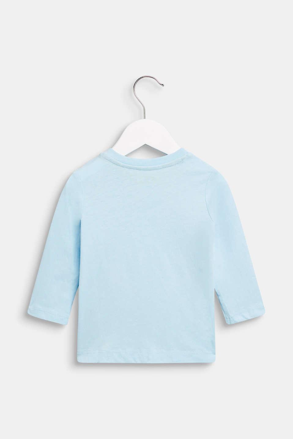 Long sleeve T-shirt with polar bear print, 100% cotton, LCICE BLUE, detail image number 1