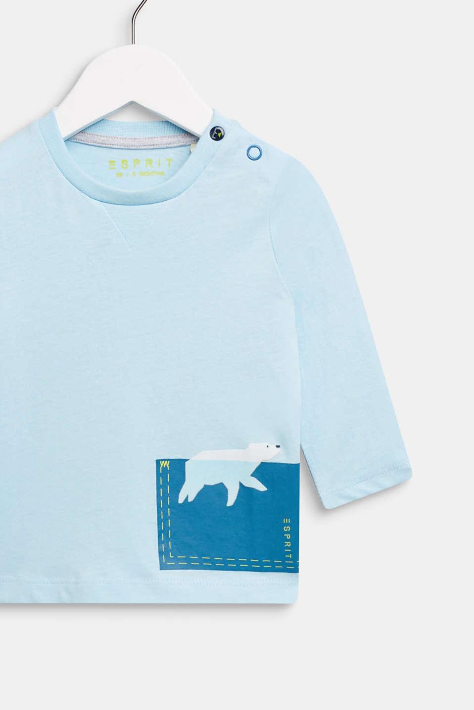Long sleeve T-shirt with polar bear print, 100% cotton, LCICE BLUE, detail image number 2