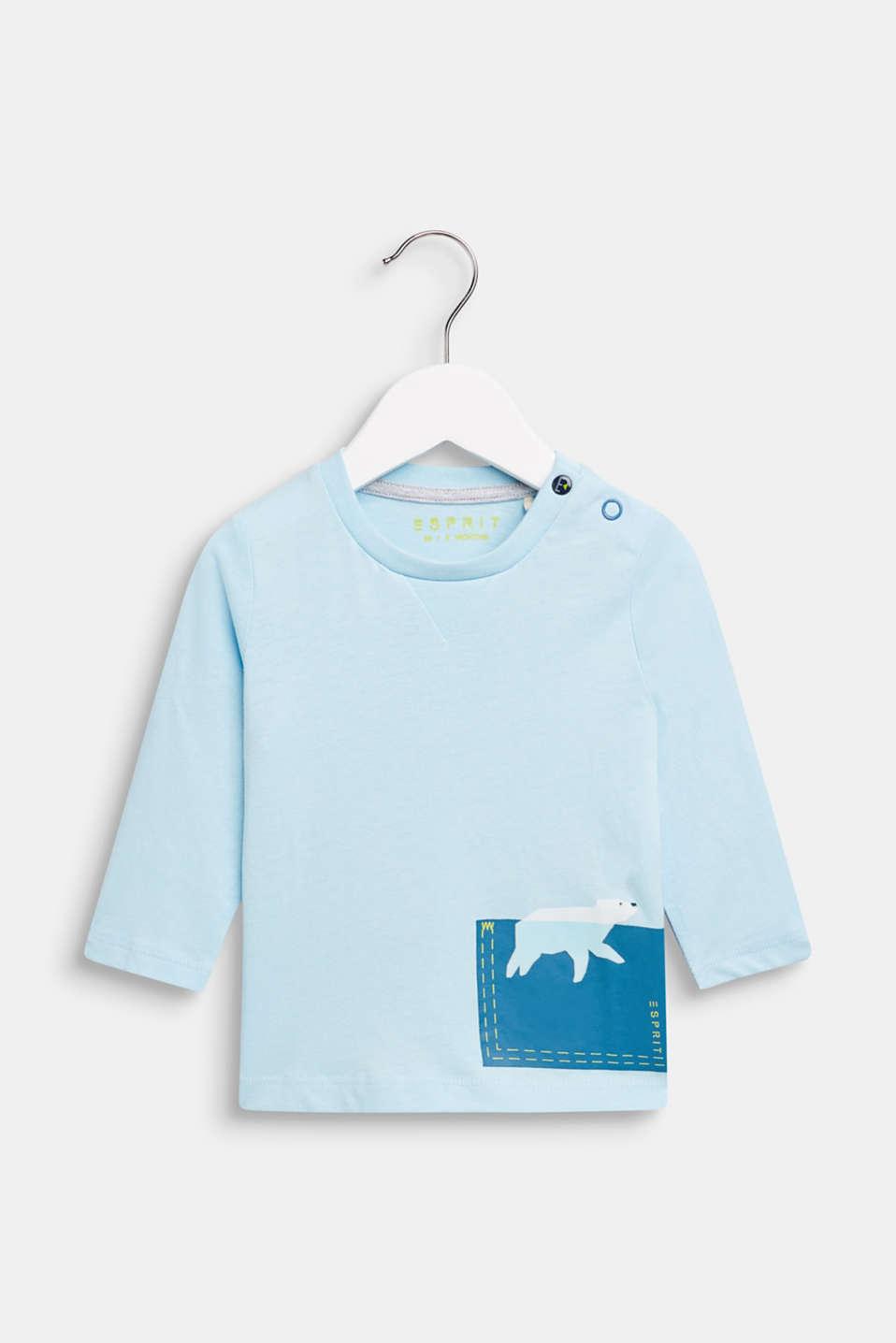 Long sleeve T-shirt with polar bear print, 100% cotton, LCICE BLUE, detail image number 0