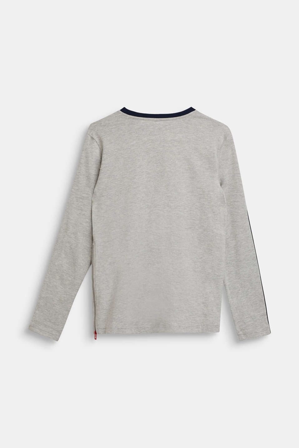 Colour block long sleeve top with a zip, LCHEATHER SILVER, detail image number 1