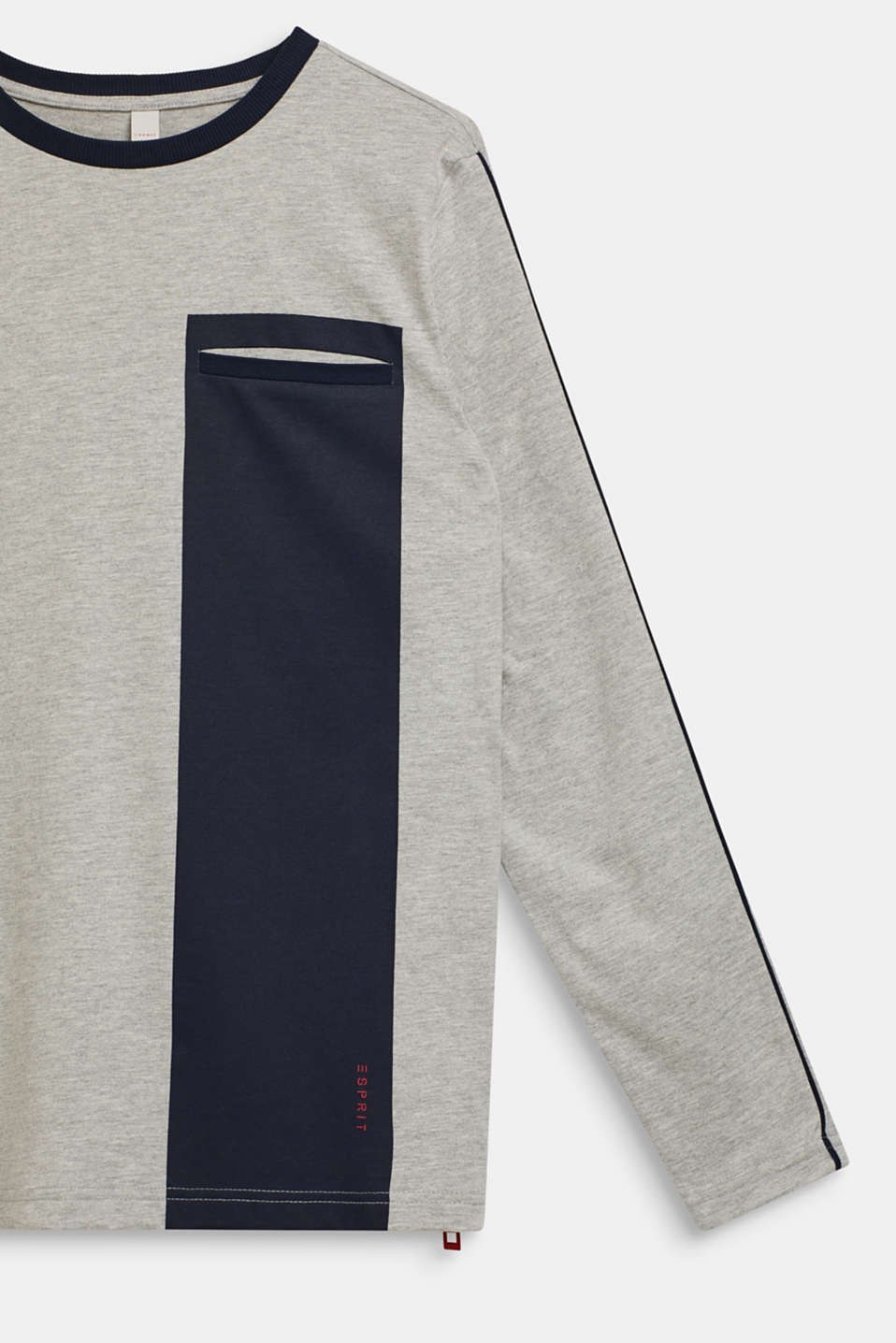 Colour block long sleeve top with a zip, LCHEATHER SILVER, detail image number 2