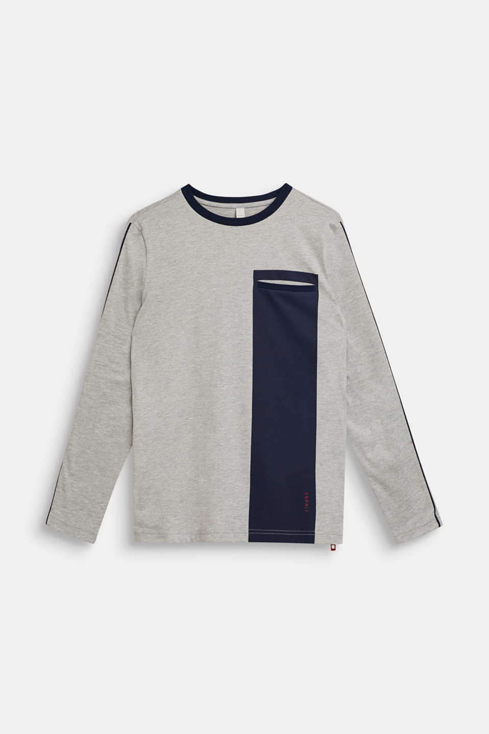 Colour block long sleeve top with a zip, LCHEATHER SILVER, detail image number 0