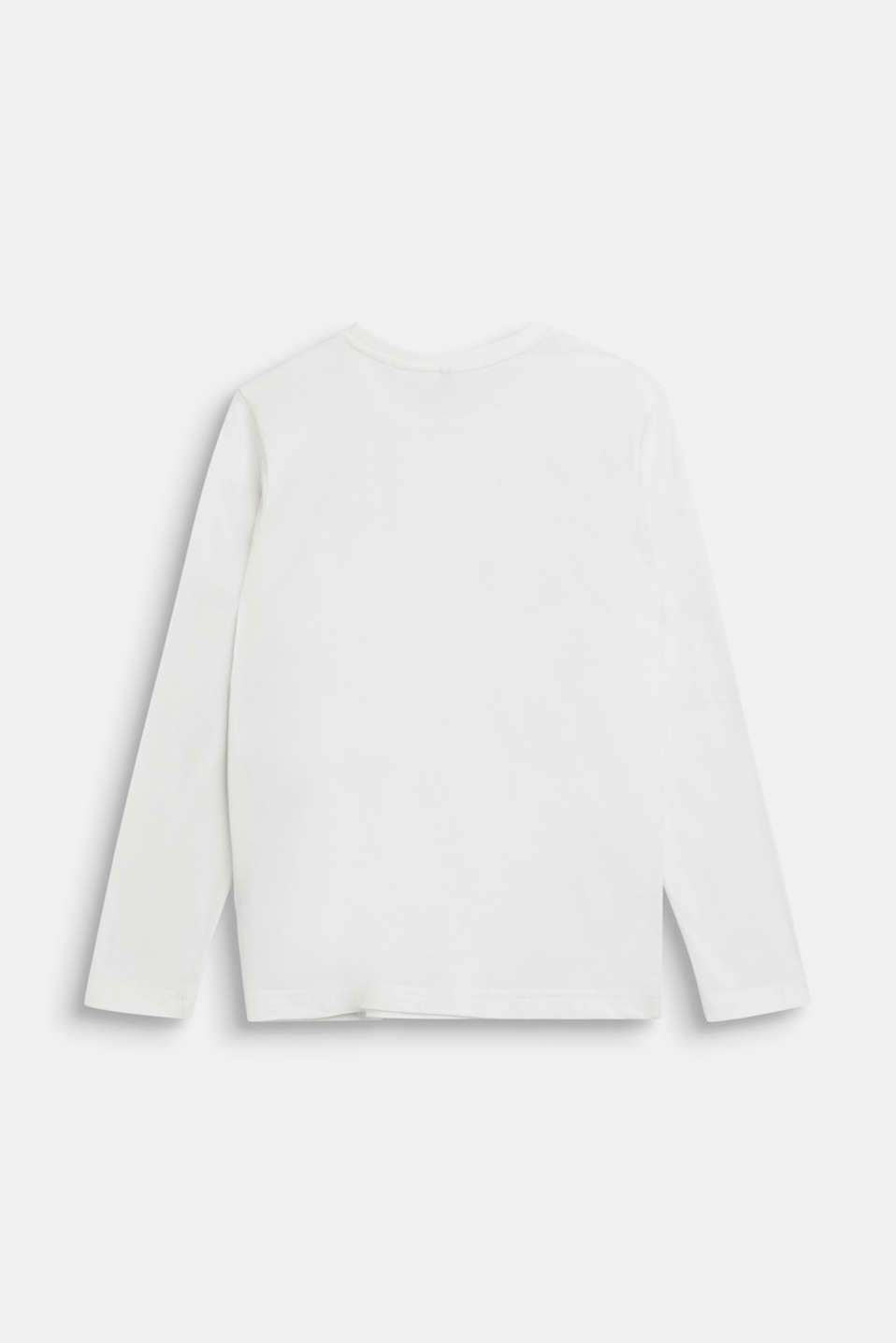 Printed long sleeve top, 100% cotton, LCOFF WHITE, detail image number 1