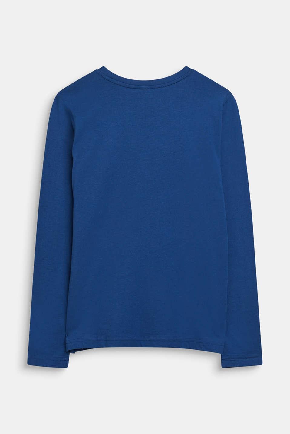 Printed long sleeve top, 100% cotton, LCINDIGO, detail image number 1