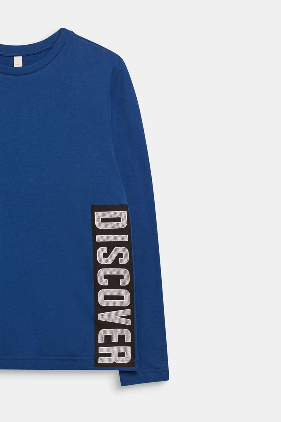 Printed long sleeve top, 100% cotton, LCINDIGO, detail image number 2