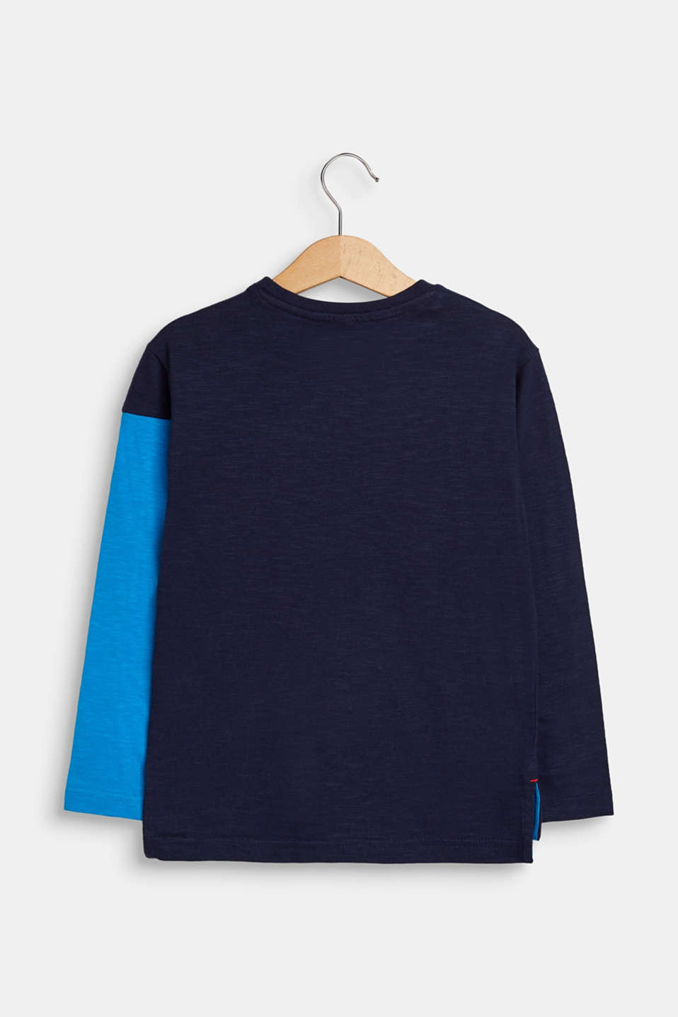 Colour block long sleeve top, 100% cotton, NAVY, detail image number 1