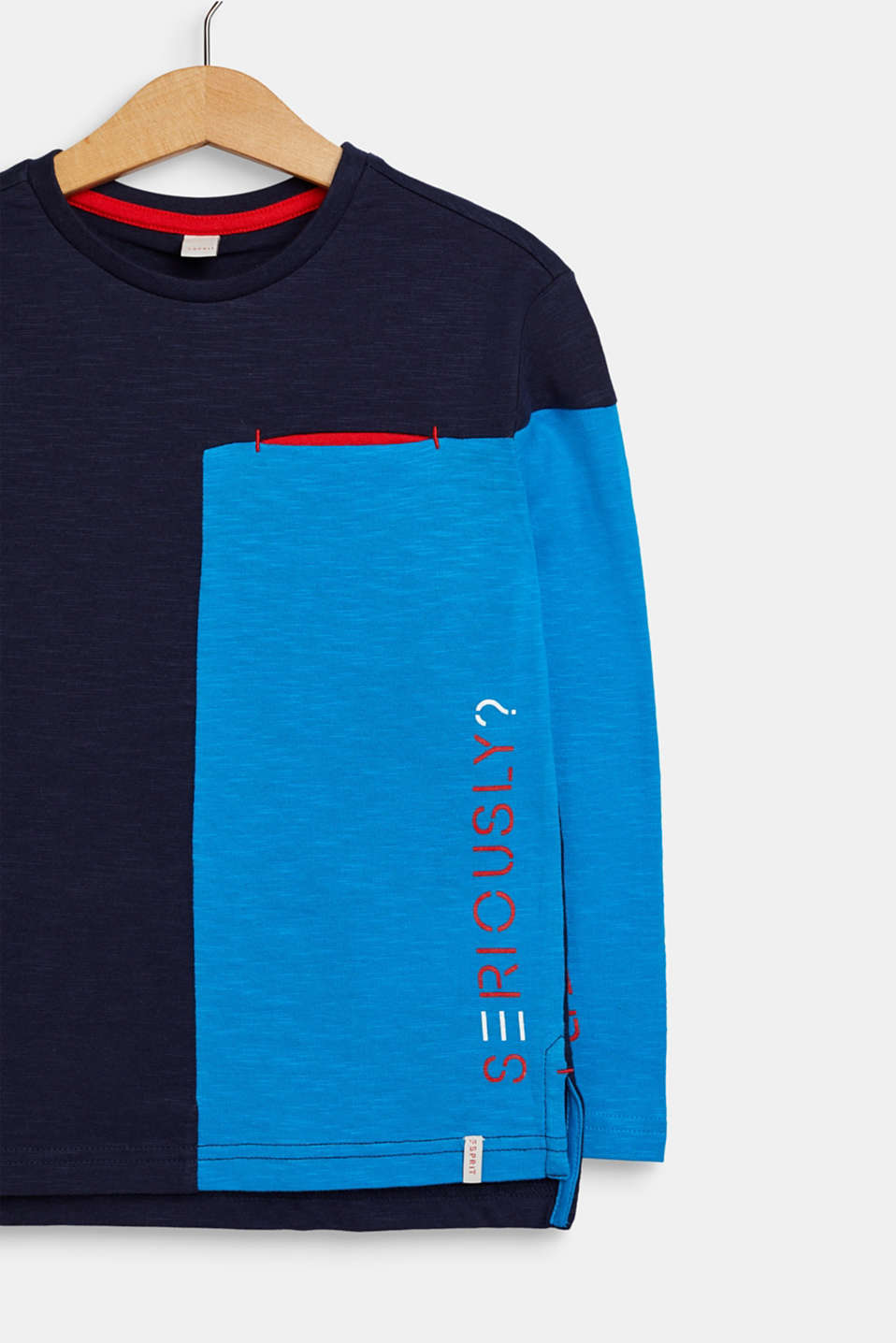 Colour block long sleeve top, 100% cotton, NAVY, detail image number 2