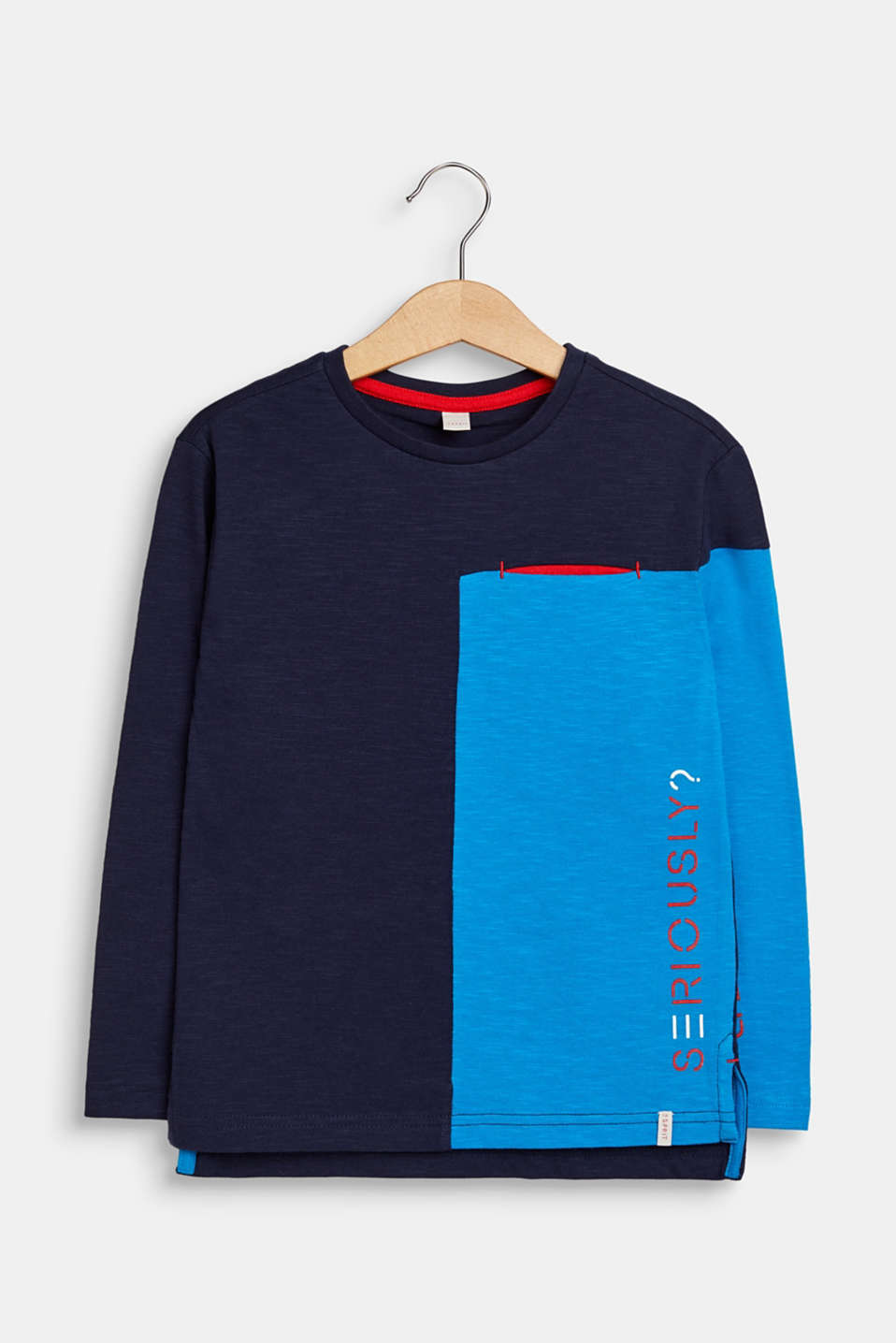 Colour block long sleeve top, 100% cotton, NAVY, detail image number 0