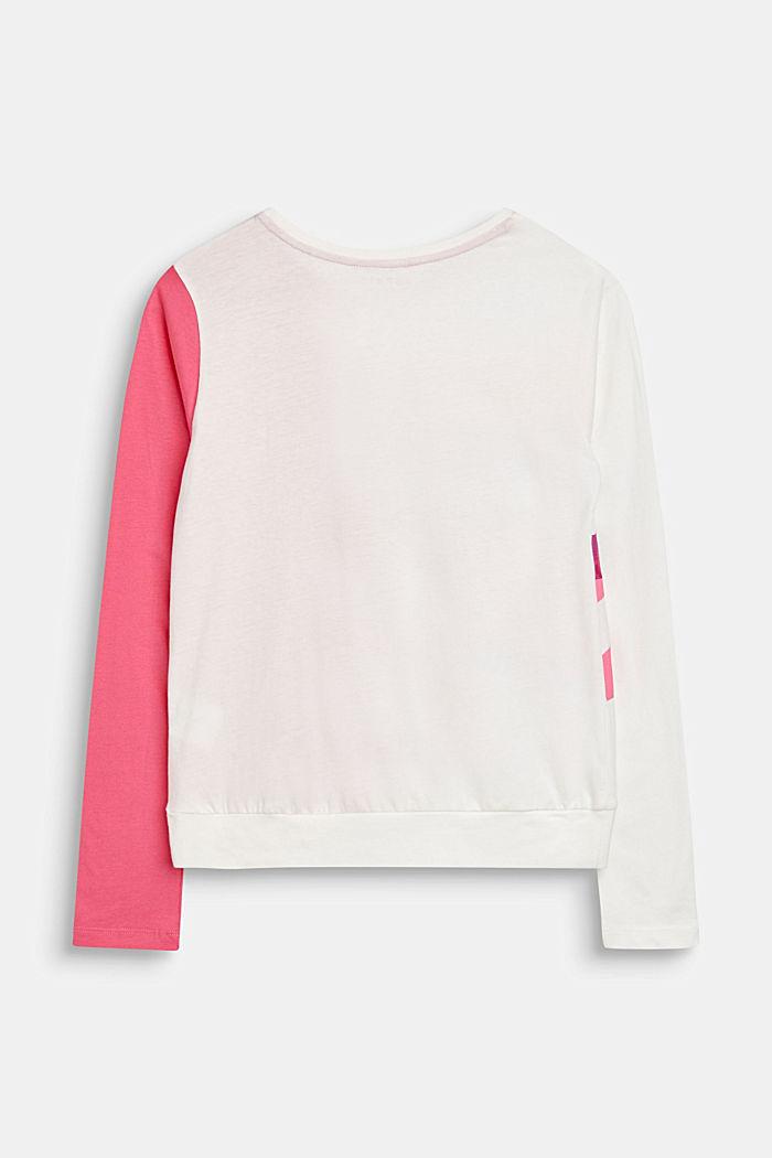 Drapiertes Color Block-Shirt, 100% Baumwolle, LCOFF WHITE, detail image number 1