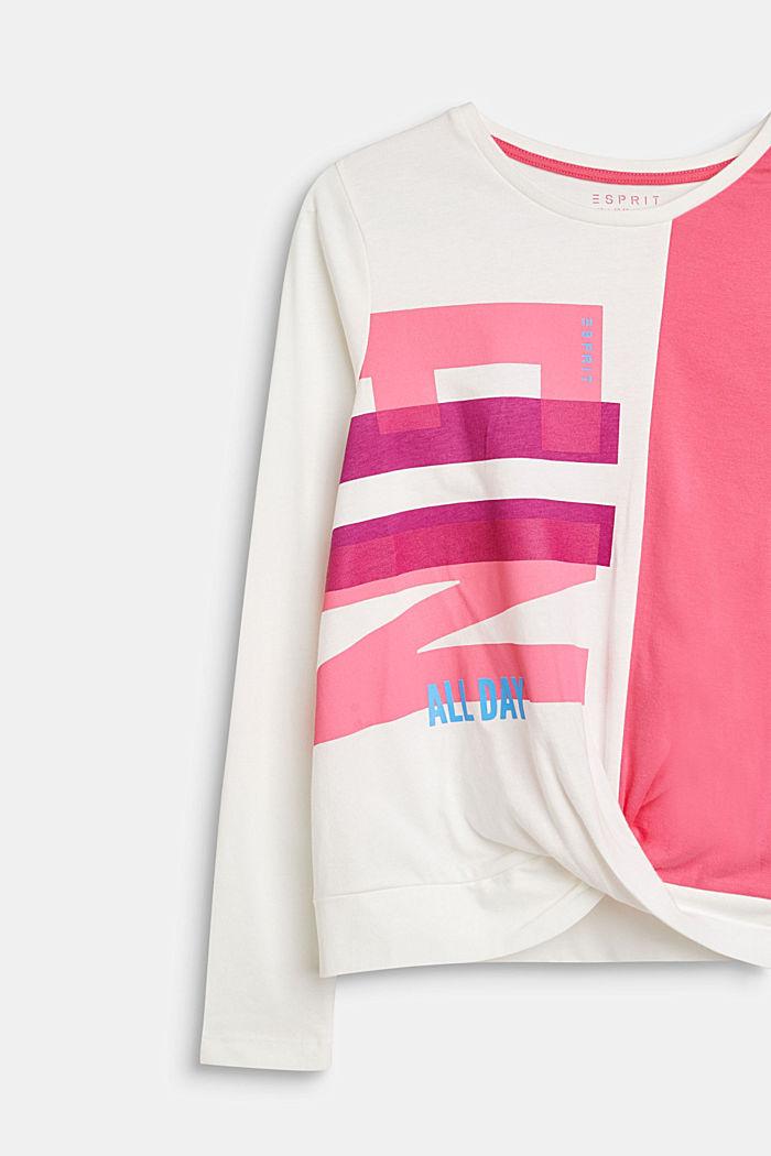 Drapiertes Color Block-Shirt, 100% Baumwolle, LCOFF WHITE, detail image number 2