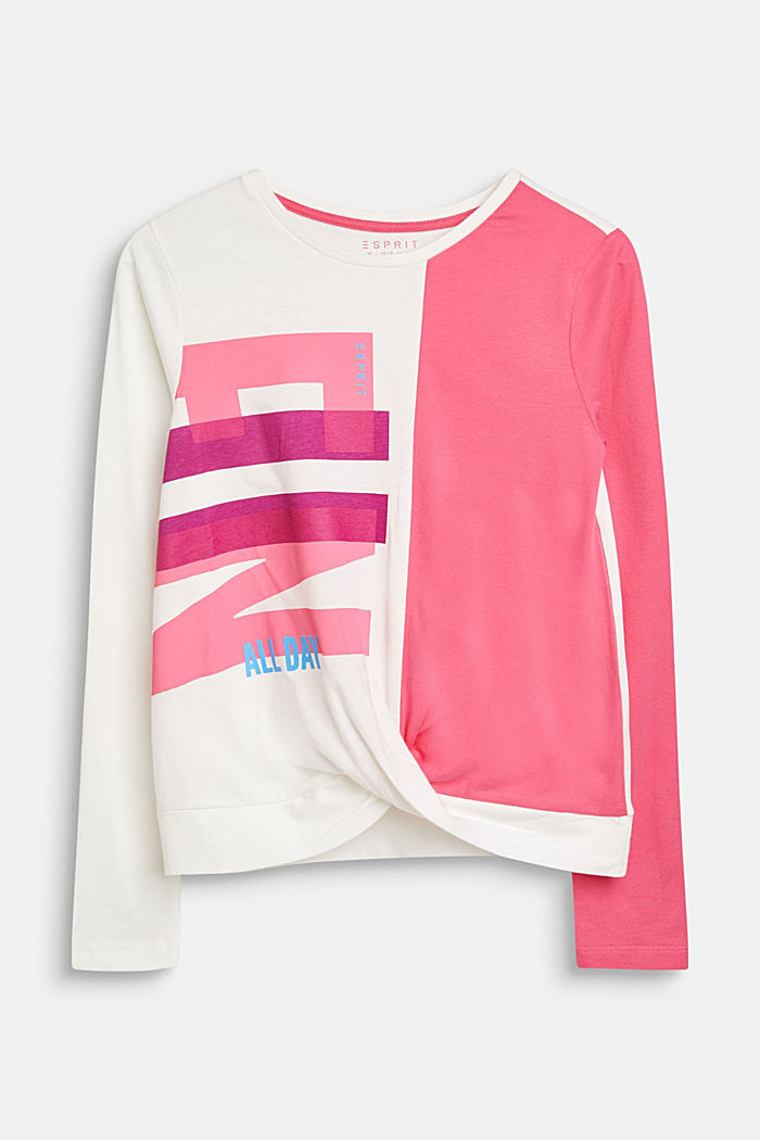 Drapiertes Color Block-Shirt, 100% Baumwolle, LCOFF WHITE, detail image number 0