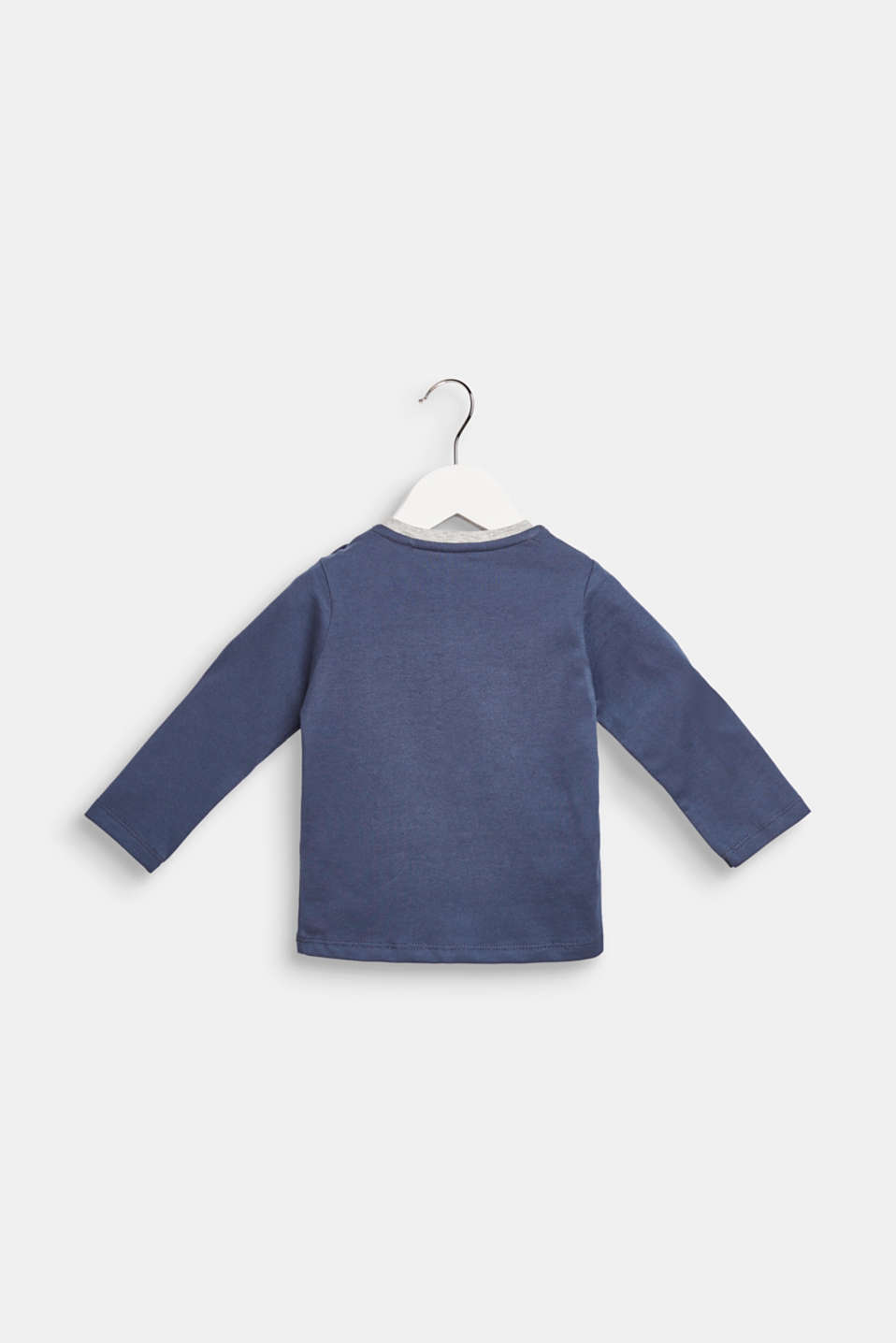 Long sleeve top with quilted motif, 100% cotton, LCMIDNIGHT BLUE, detail image number 1