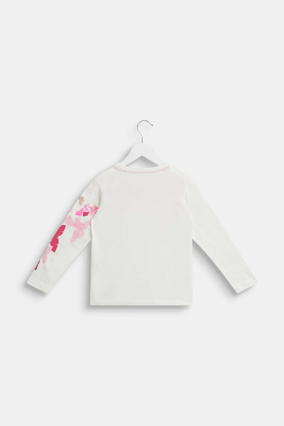 Glitter print long sleeve cotton top, 100% cotton, OFF WHITE, detail image number 1