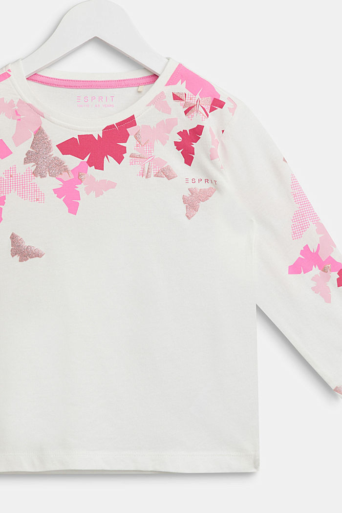 Långärmad topp med glittertryck, 100% bomull, OFF WHITE, detail image number 2