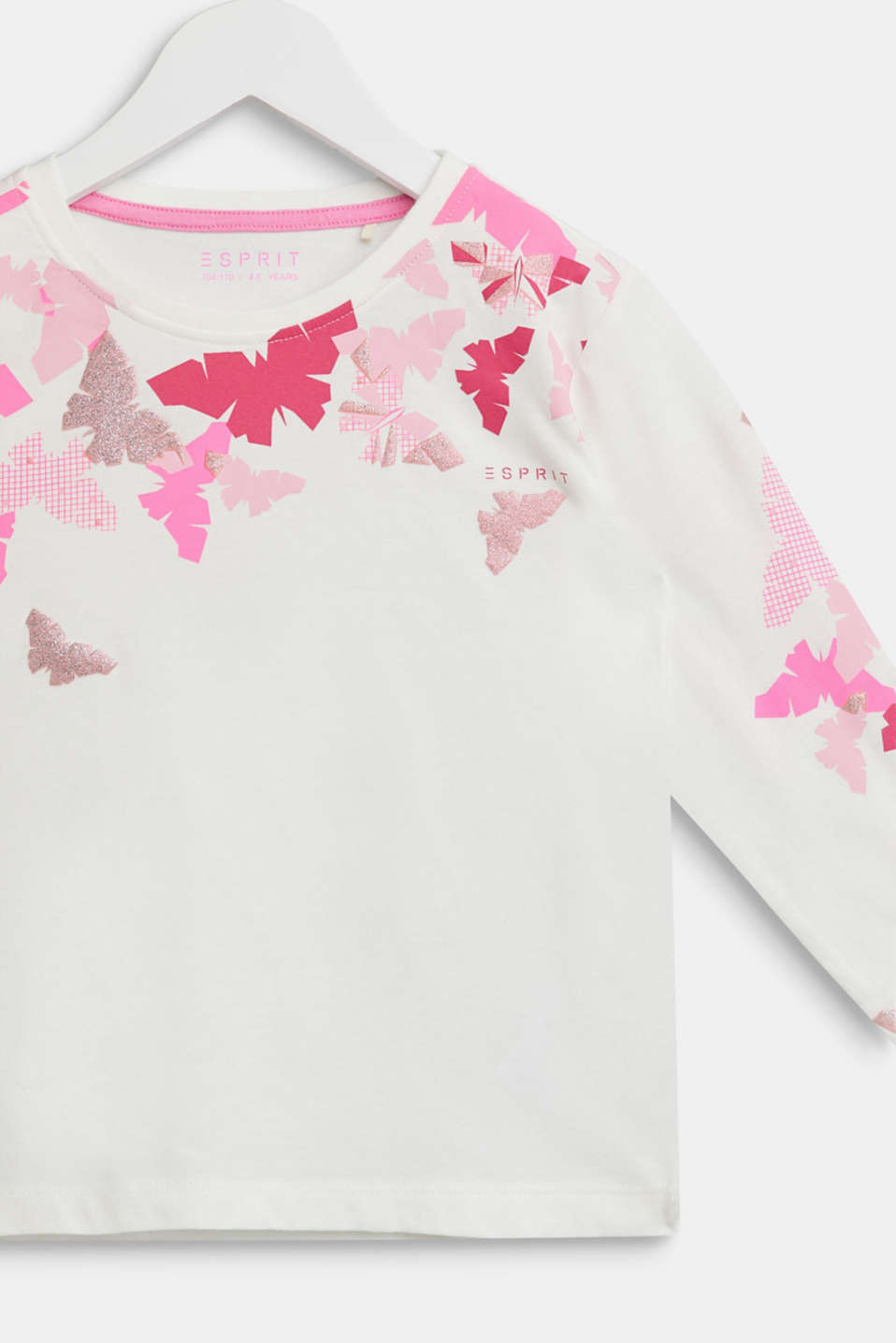 Glitter print long sleeve cotton top, 100% cotton, OFF WHITE, detail image number 2
