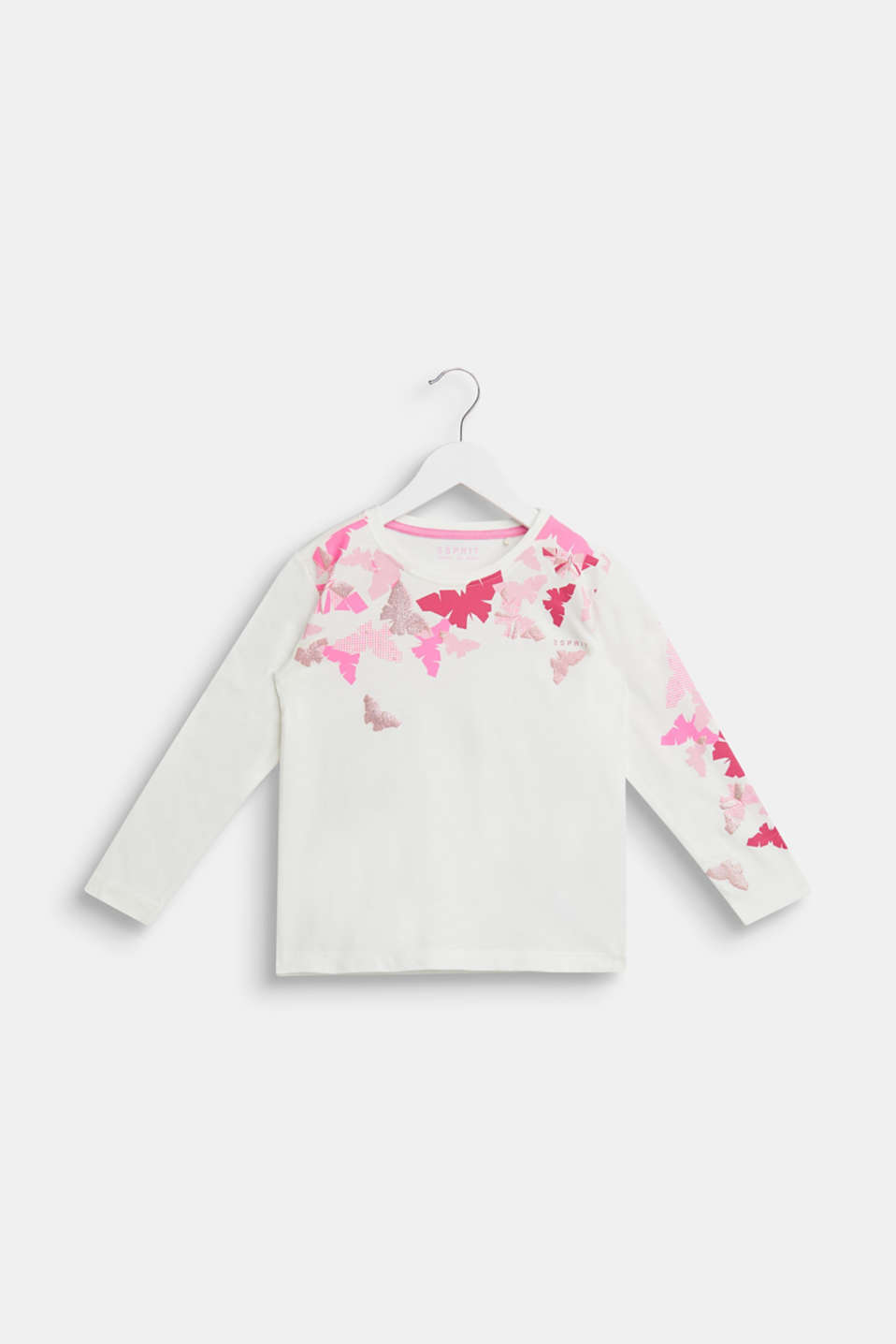 Glitter print long sleeve cotton top, 100% cotton, OFF WHITE, detail image number 0