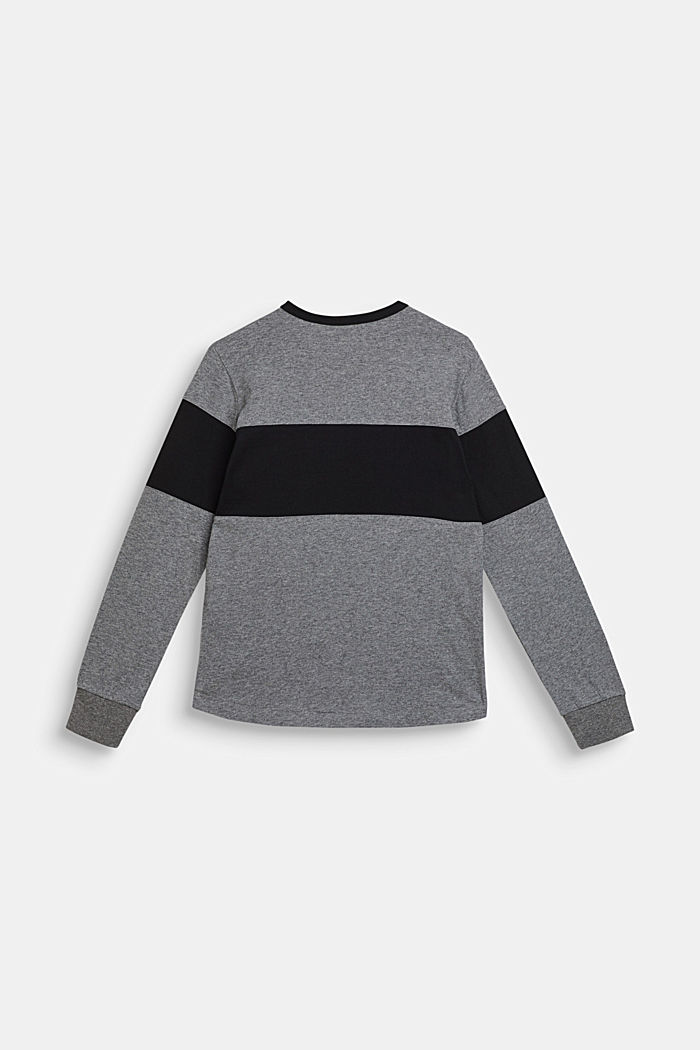 Colour block long sleeve top with a breast pocket, LCDARK HEATHER G, detail image number 1