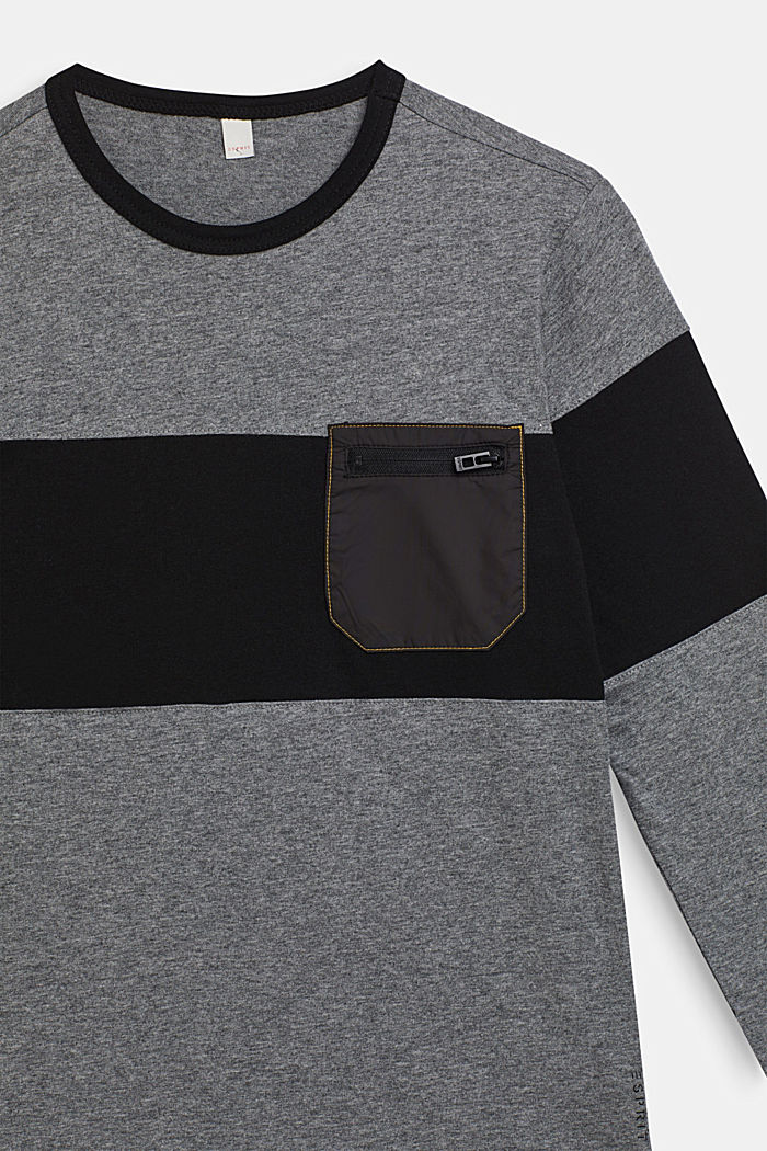 Colour block long sleeve top with a breast pocket, LCDARK HEATHER G, detail image number 2