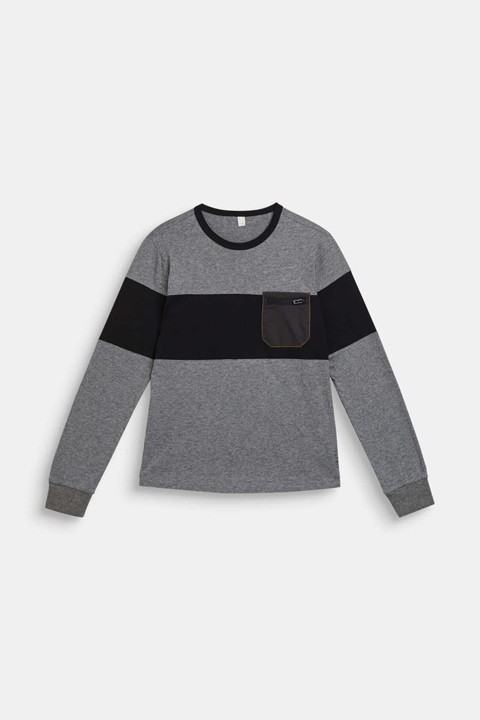 Esprit - Color Block-Longsleeve mit Brusttasche