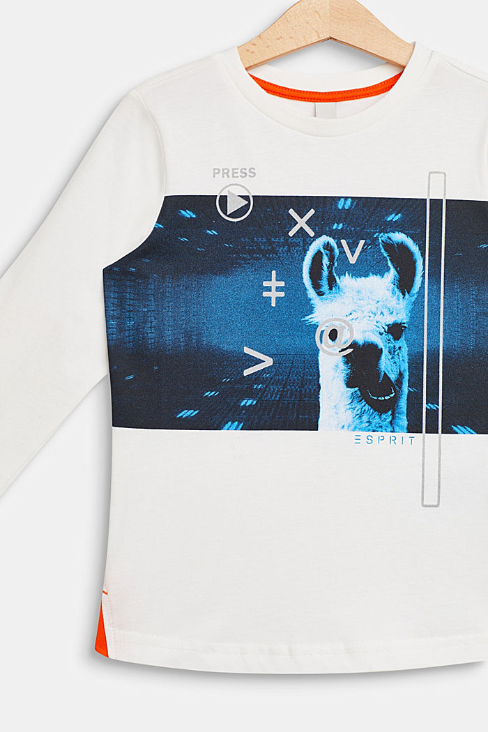 llama printed long sleeve top, 100% cotton, OFF WHITE, detail image number 2