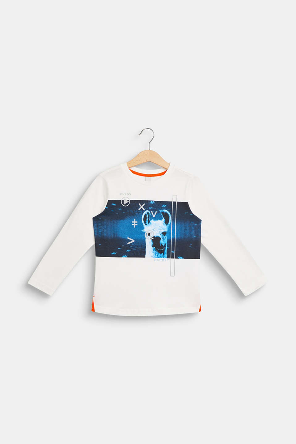 llama printed long sleeve top, 100% cotton, OFF WHITE, detail image number 0