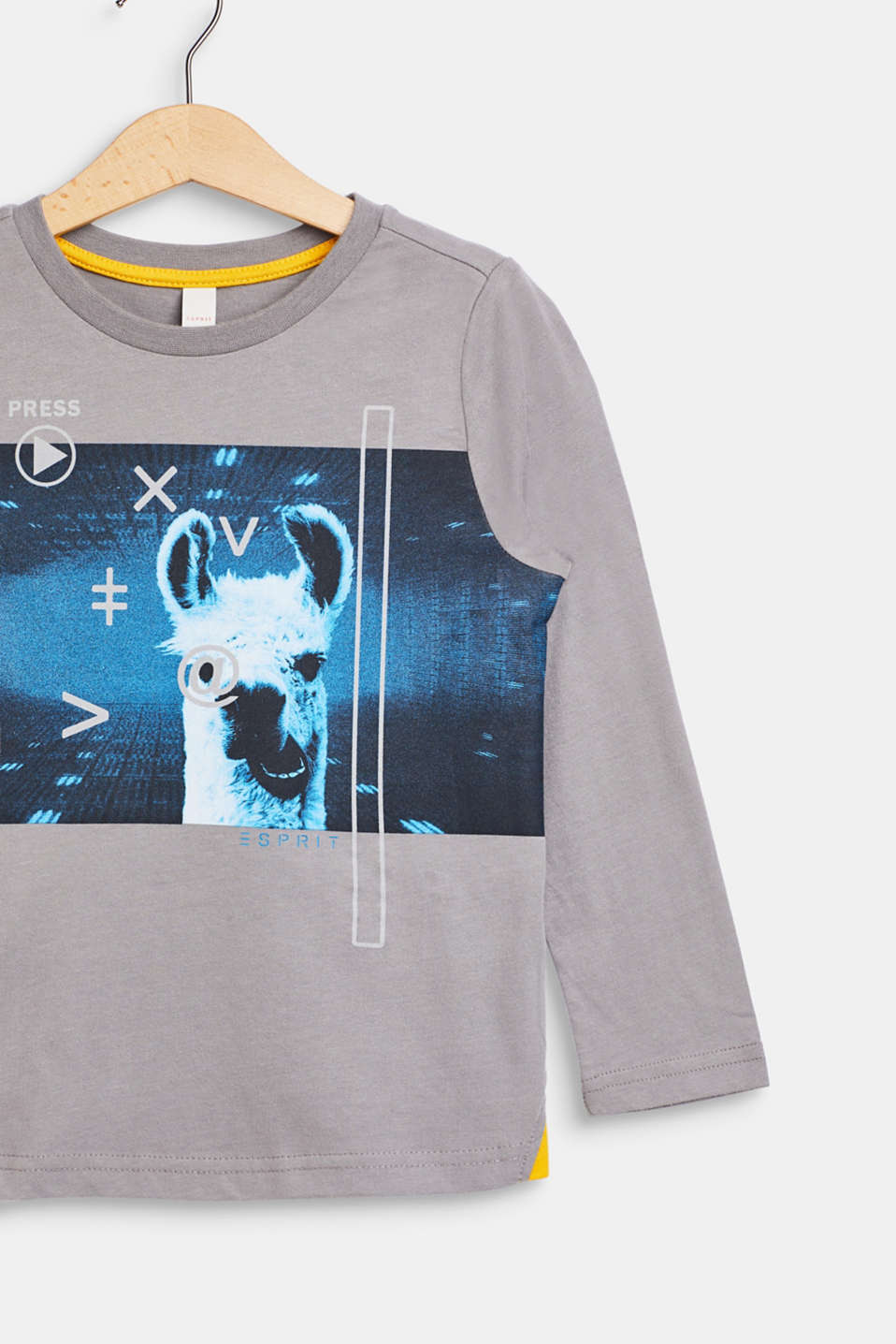 llama printed long sleeve top, 100% cotton, GREY, detail image number 2