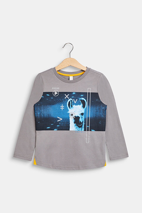 llama printed long sleeve top, 100% cotton