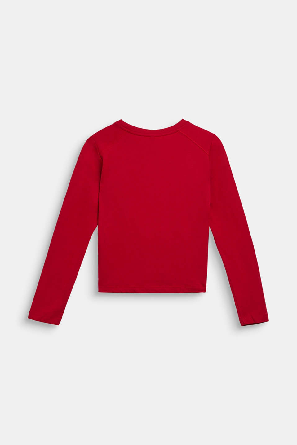 Long sleeve top with a shiny print, 100% cotton, LCTIBETAN RED, detail image number 1