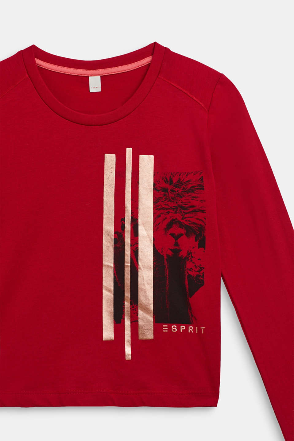 Long sleeve top with a shiny print, 100% cotton, LCTIBETAN RED, detail image number 2