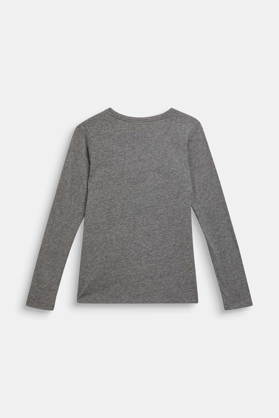 Long sleeve top with a glitter print, LCDARK HEATHER G, detail image number 1