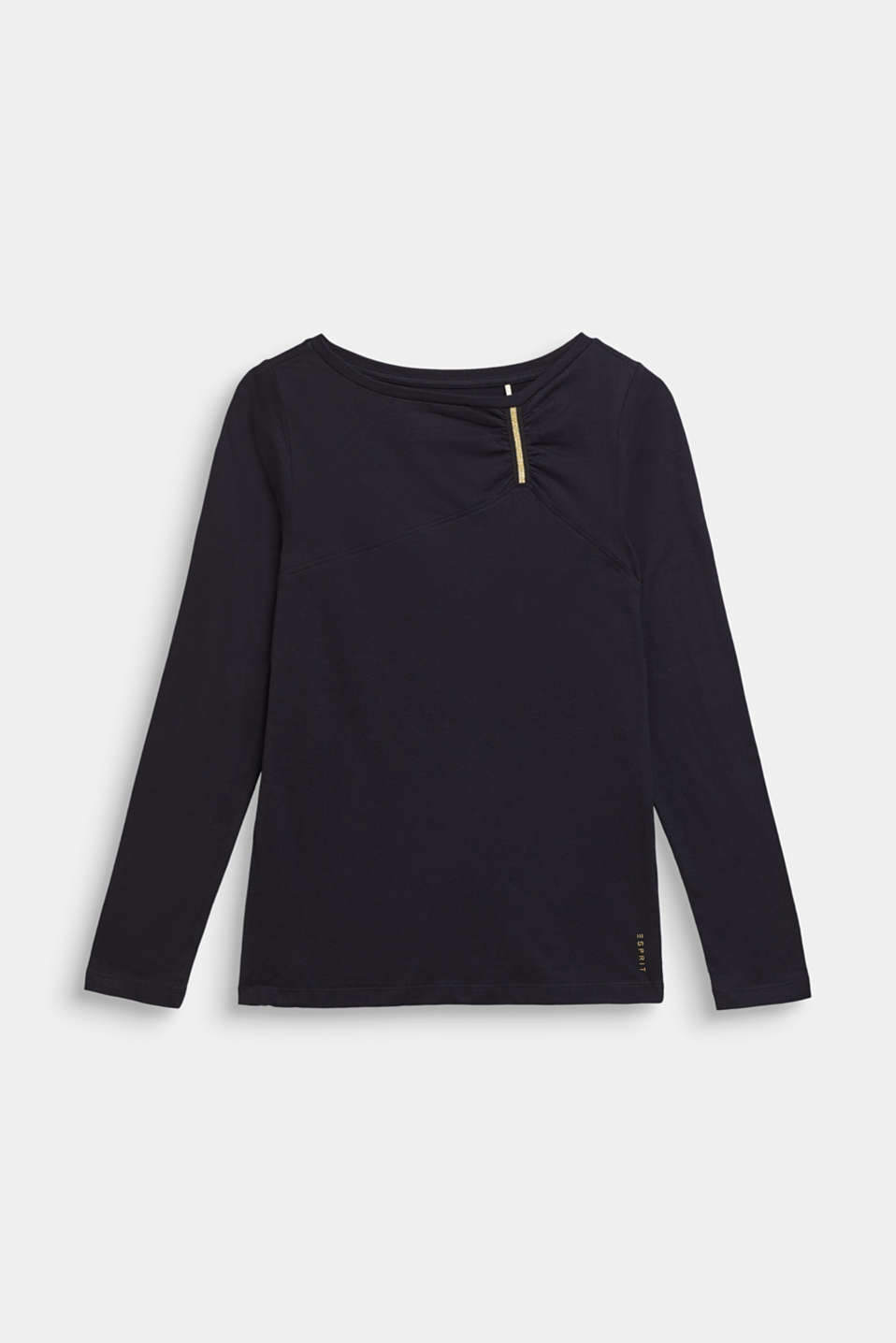 Esprit - Long sleeve top with a glitter detail, 100% cotton