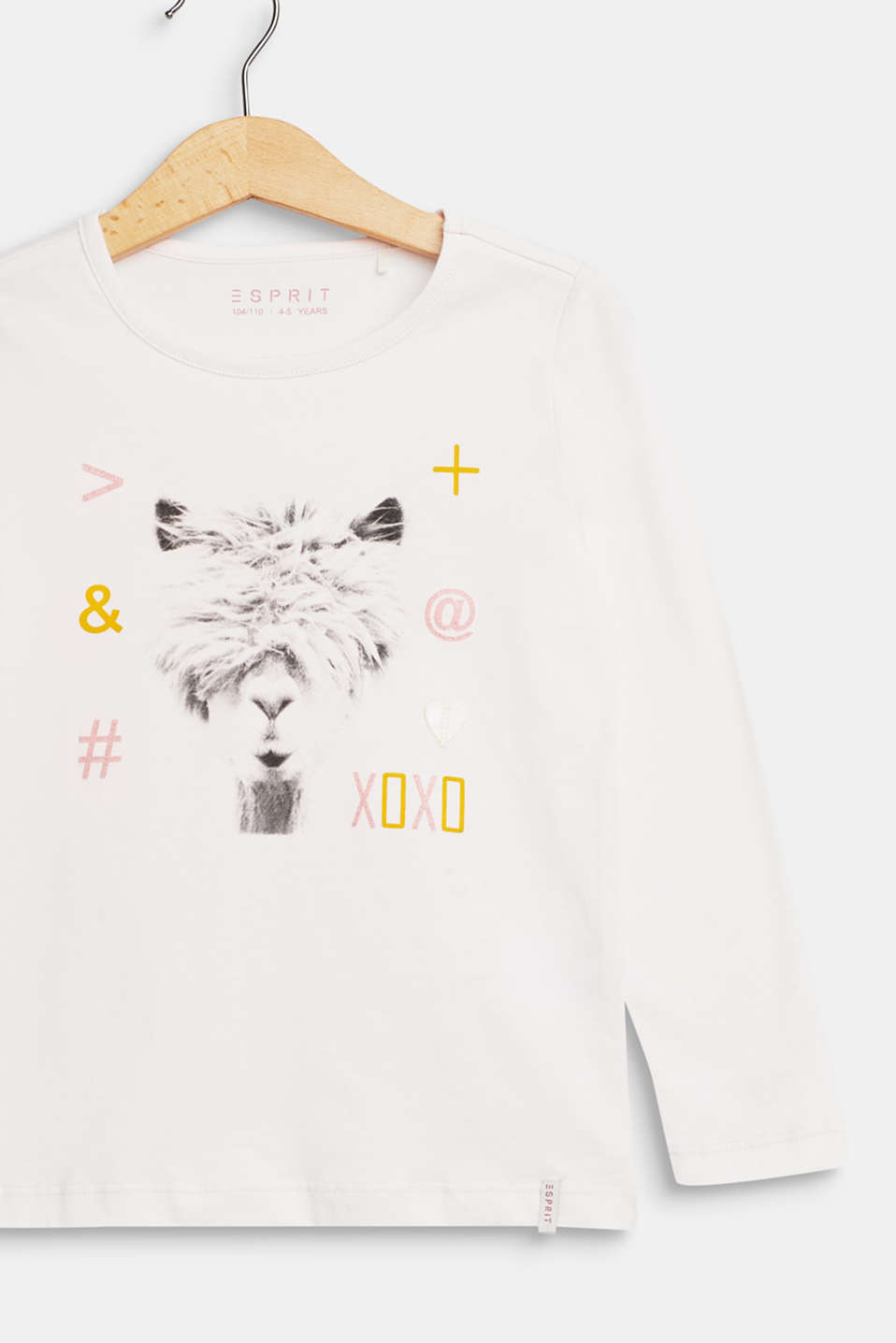 llama printed long sleeve top, 100% cotton, TINTED PEARL, detail image number 2