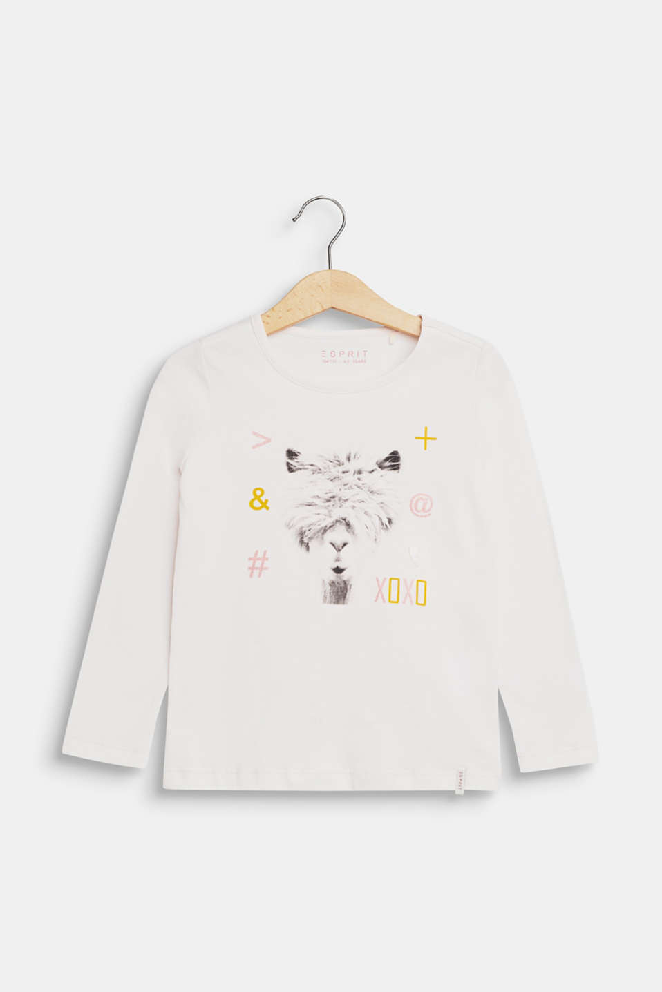 llama printed long sleeve top, 100% cotton, TINTED PEARL, detail image number 0
