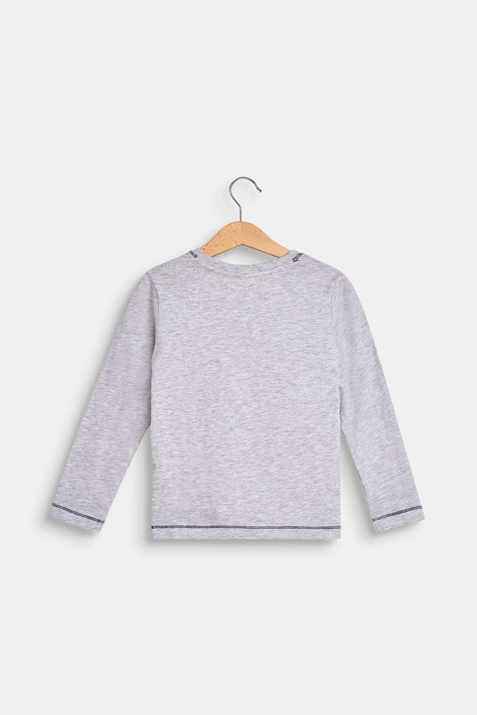 Melange long sleeve top with a statement print, LCHEATHER SILVER, detail image number 1