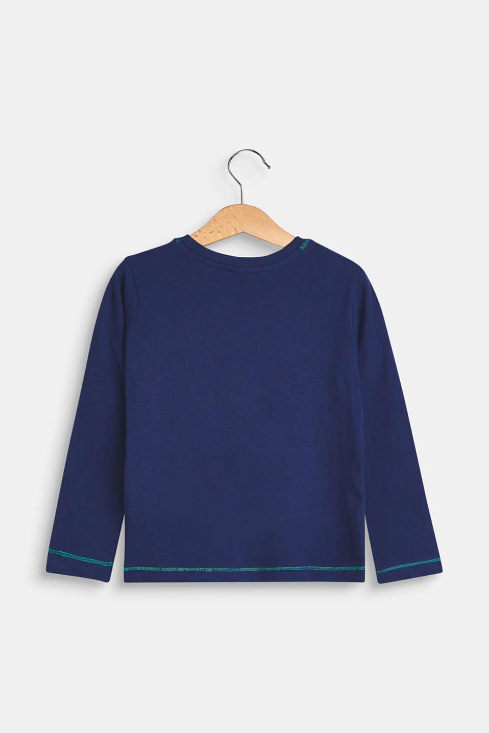 Melange long sleeve top with a statement print, MARINE BLUE, detail image number 1