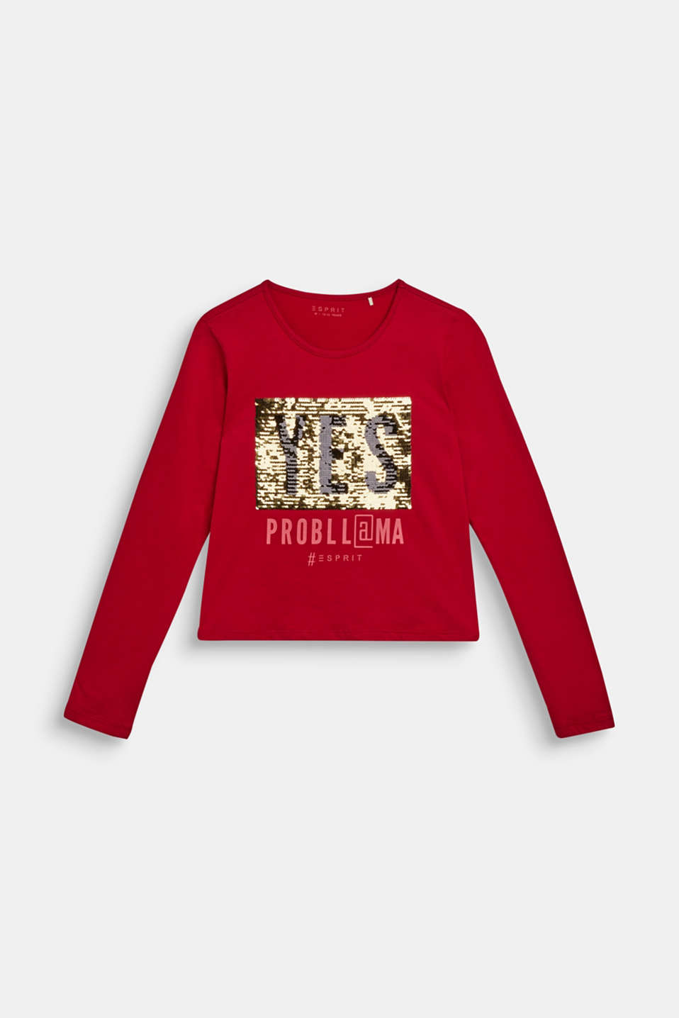 Long sleeve top with reversible sequins, LCTIBETAN RED, detail image number 2