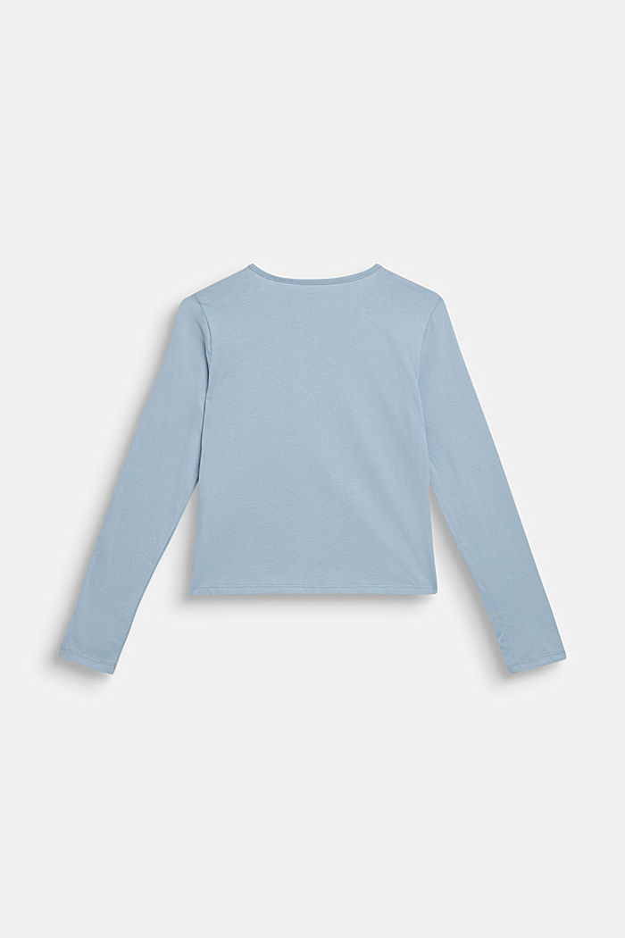 Long sleeve top with reversible sequins, GREY BLUE, detail image number 1