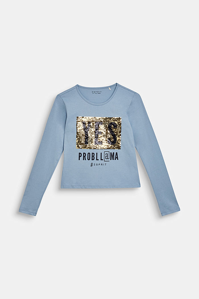 Long sleeve top with reversible sequins, GREY BLUE, detail image number 2