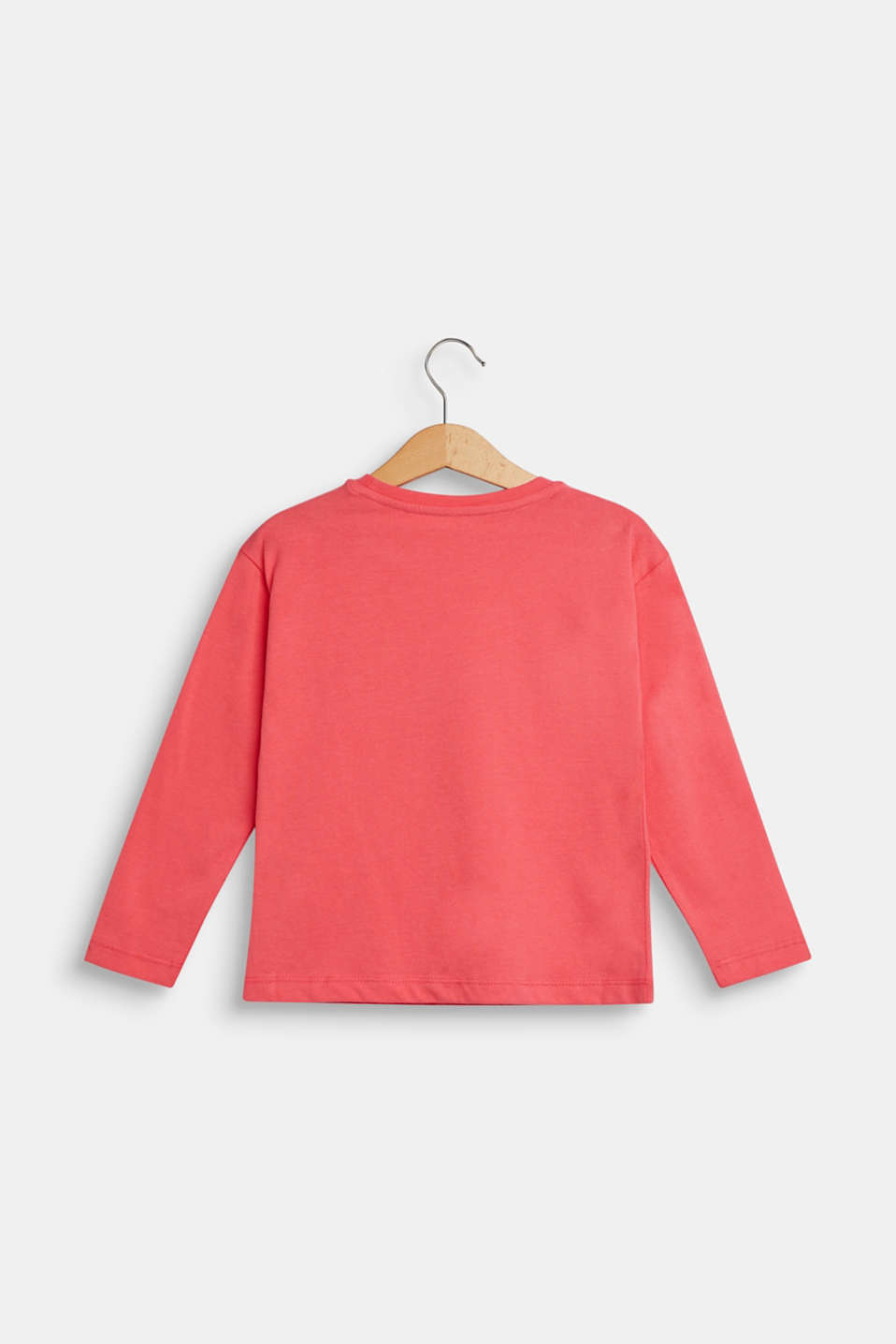 Long sleeve top with sequins, 100% cotton, CORAL, detail image number 1