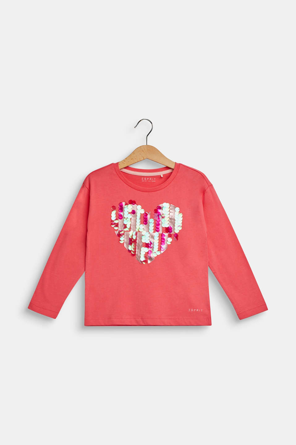 Long sleeve top with sequins, 100% cotton, CORAL, detail image number 0